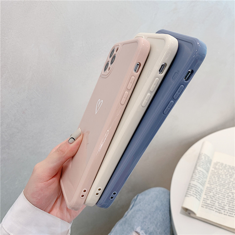 Love Heart Phone Case For iPhone 11 12 Pro Max 7 8 Plus X XR XS Max Candy Color Square Frame Back Cover For iPhone 7 8 Plus