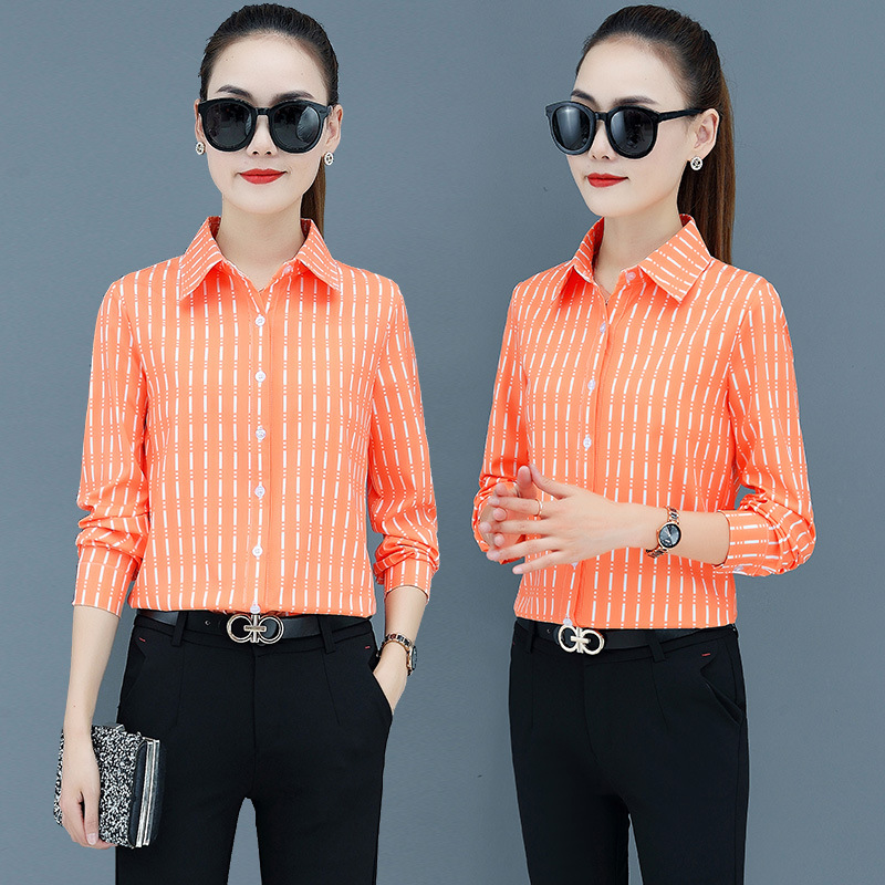 Korean Fashion Chiffon Women Blouses Striped Vintage Long Sleeve Office Lady Shirt and Blouse Plus Size XXXL/5XL Womens Tops