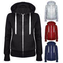 купить Casual Women Solid Color Long Sleeve Hoodie Winter Warm Zipper Hooded Sweatshirt Women's Hoodie Long Sleeve Zipper Closure Sweat дешево