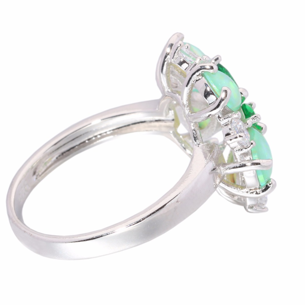CiNily Luxury Green Fire Opal Stone Big Ring Silver Plated Clear - Fashion Jewelry - Photo 2
