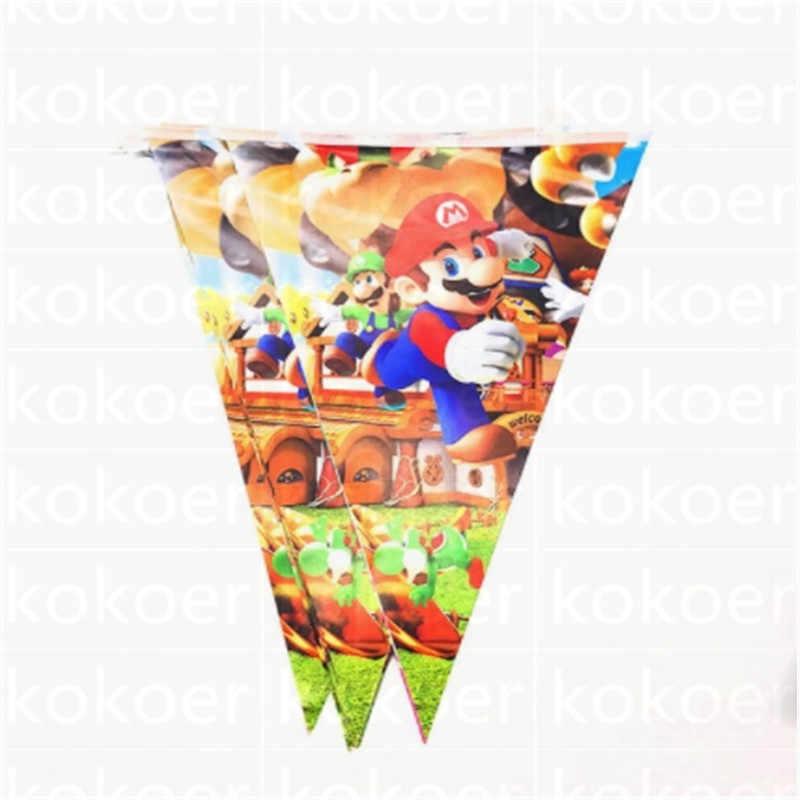 גלימת גלימת מסכת סופר מארי חד פעמי עוגת stand קשיות מריו המפלגה קישוטי דגל/באנרים ספקי צד