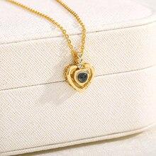 Collier en or avec pendentif en forme de cœur, 100 langues, pendentif en forme de Projection, amour, romantique, à la mode