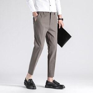 2020 брендовая одежда для мужчин, Тонкий Высококачественный хлопковый деловой костюм, брюки/мужские однотонные брюки для отдыха размера плюс...