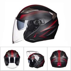 Image 2 - GXT casco de moto cara abierta visores de doble lente casco de motocicleta casco bicicleta eléctrica hombres mujeres verano Scooter moto casco