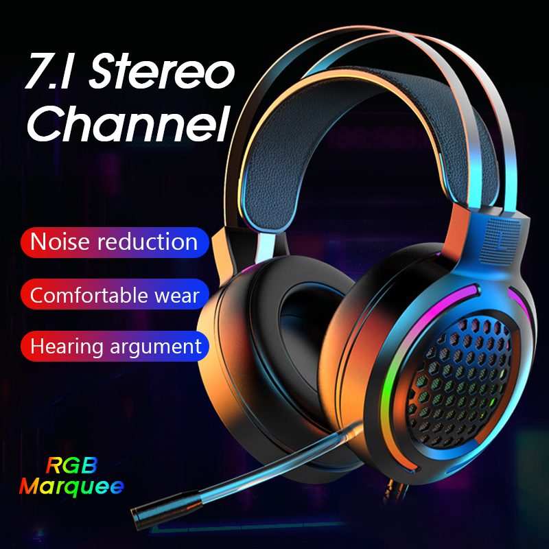 Gaming Headset Ear Buds Earphone Wired Gamer Headphone 7 1Surround Stereo Sound Headsets with Mic LED Light for PC Gamer