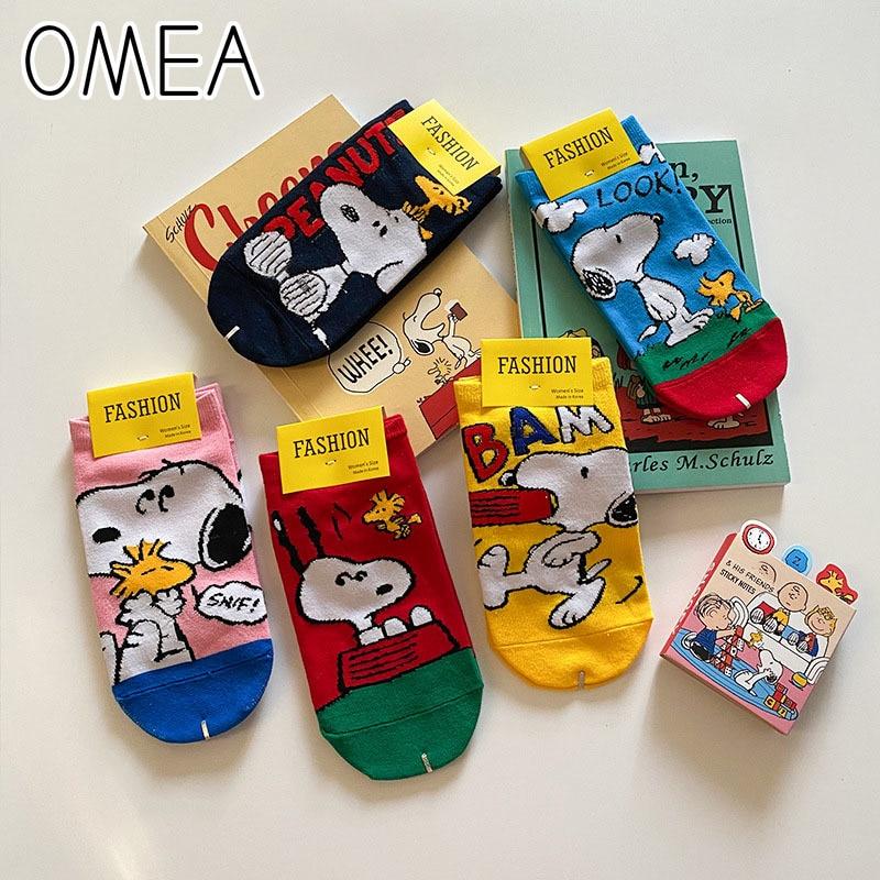 OMEA Women Summer Socks 5 Pairs Cartoon Dog Ankle Socks Peanuts Cotton Short Socks Women Sox Lovely Invisible Low Cut Boat Socks