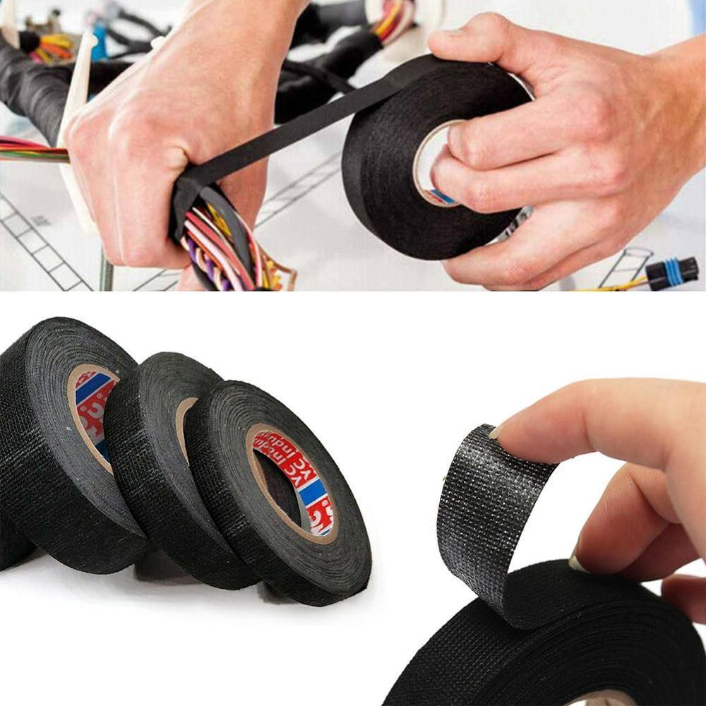 1 Roll 15m Multipurpose Car Self Adhesive Heat-resistant Adhesive Anti Squeak Rattle Felt Automotive Wiring Harness Tape New