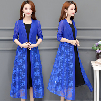 Women Cardigans Long Kimonos Summer Long Sleeve Sun-protection Lace Floral Long Coats Plus Size XL~4XL 5XL Casual Lady Cardigan 1
