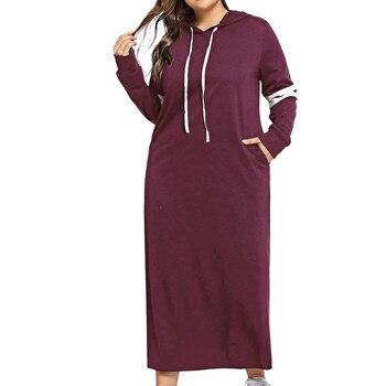Womens Dresses Plus Size 5XL Womens Long Sleeve Hooded Contrast Striped Side Print Drawstring Pockets Baseball Sports Dress #E plus bear print flounce sleeve striped night dress