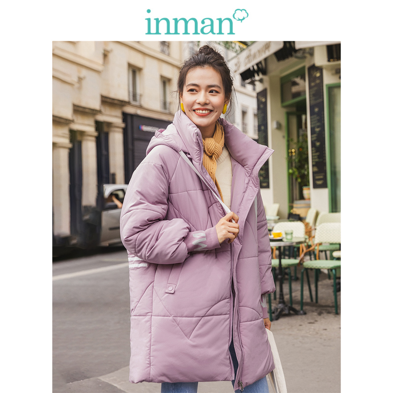 INMAN Winter Casual Hooded Stand Up Collar Solid All Matched Fashion Warm Women Cotton-Padded Coat