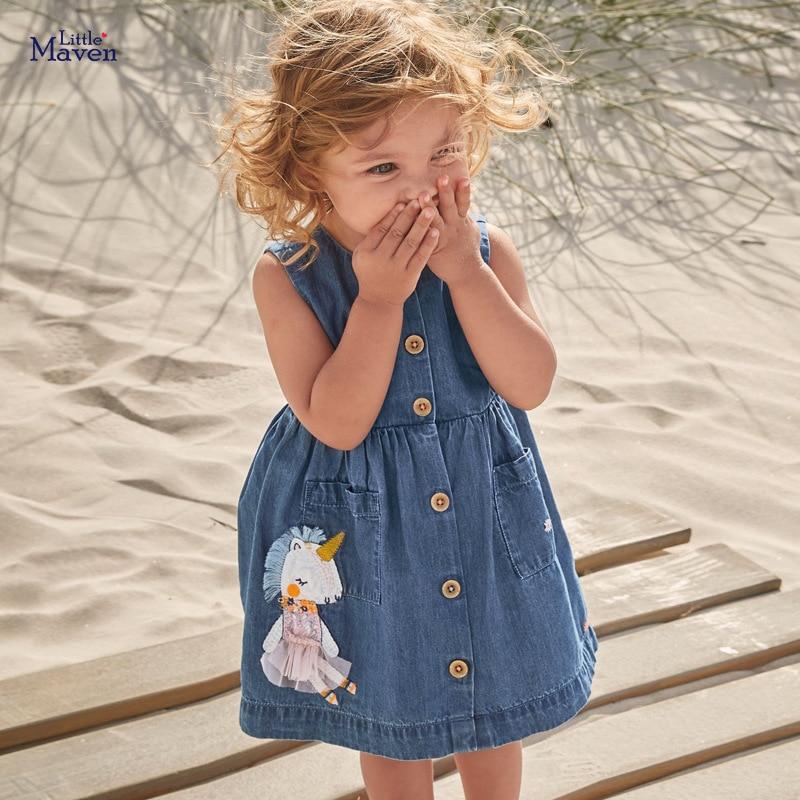 Little Maven 2021 Summer Baby Girl Clothes Children Unicorn Denim Color Sundress Pinafore Sleeveless Dress for Kids 2-7 Years 1