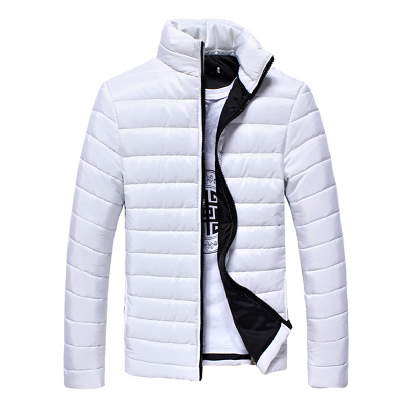 2019 New Winter Jacket Men Colorful Solid Thick Jackets Parkas Slim Fit Long Sleeve Quilted Outerwear Boy Clothing Warm Coats