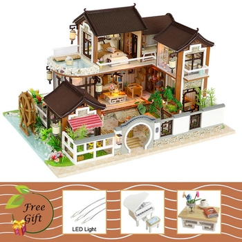Doll House DIY Hand Make Wooden Assemble Doll Houses Miniature Dollhouse Furniture Kit with LED Toys Children Christmas Gift cutebee doll house miniature dollhouse with furniture kit wooden house miniaturas toys for children new year christmas gift