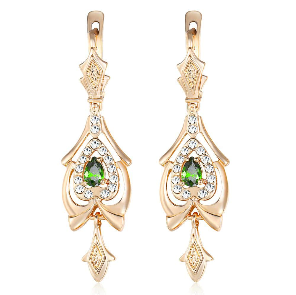 Dangling Earrings For Women Teardrop Olivine Green CZ Chandelier 585 Rose Gold Women's Drop Earring Valentines Gifts KGE109(Hong Kong,China)