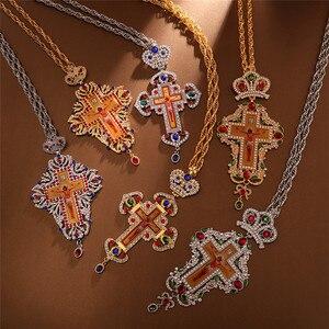 Image 3 - Ortodossa Croce Pettorale Collares Corona Religioso Icona bizantina Cattolica Crocifisso Collana Conferma Del Pendente Collana Lunga