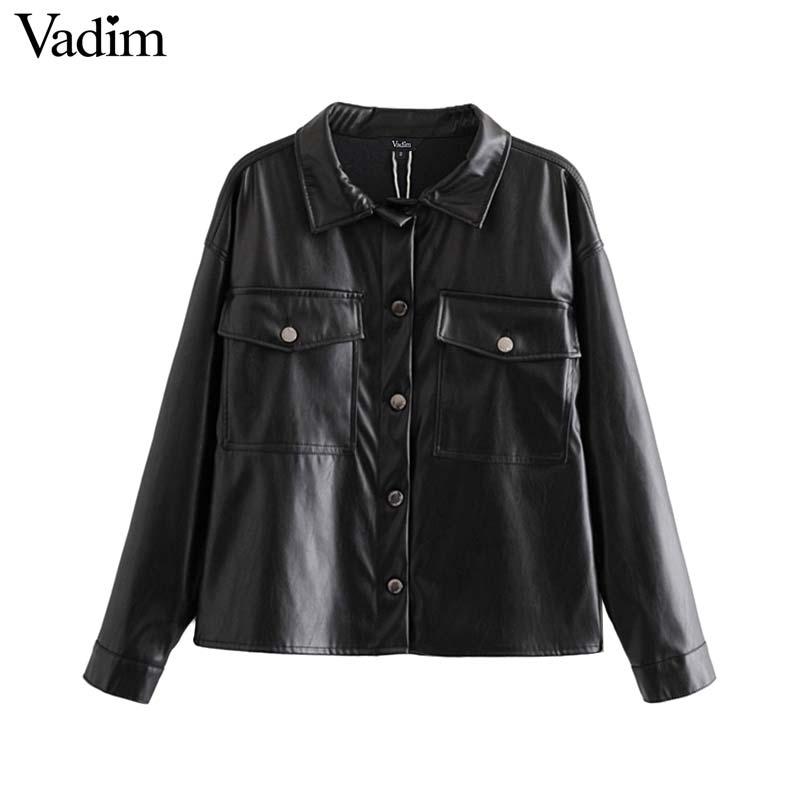 Vadim women chic black PU leather blouse pocket decorate long sleeve turn down collar shirt female stylish casual tops LB573Blouses & Shirts   -