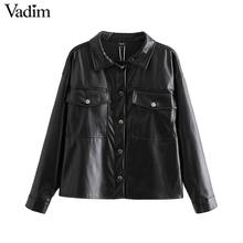Vadim women chic black PU leather blouse pocket decorate long sleeve turn down collar shirt female stylish casual tops LB573