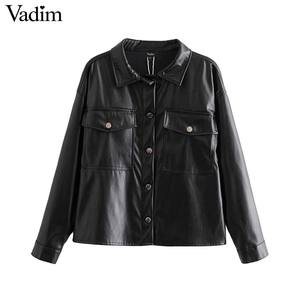 Image 1 - Vadim women chic black PU leather blouse pocket decorate long sleeve turn down collar shirt female stylish casual tops LB573