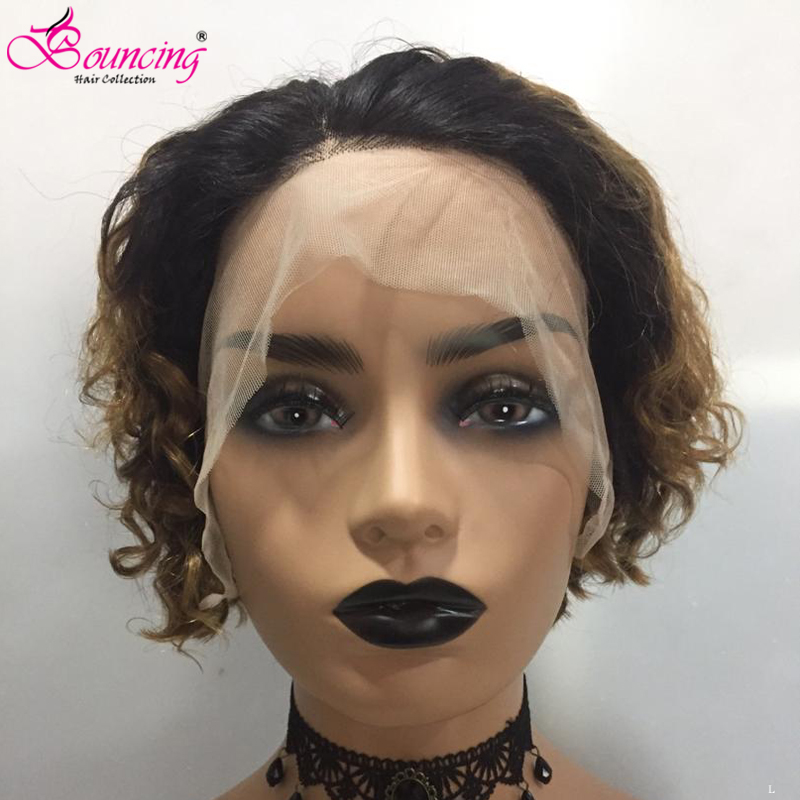 Bouncing Hair 1b/27 Short Pixie Cut Wigs Curly 13*4 Lace Front Wigs 150 Density Low Ratio Human Remy Hair Free Shipping