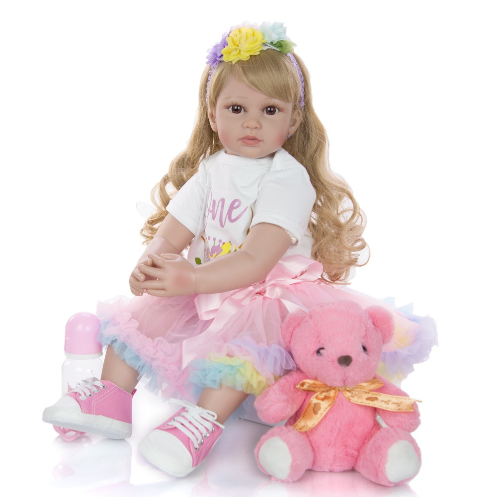 Big <font><b>60</b></font> <font><b>cm</b></font> bebes <font><b>Reborn</b></font> Toddler Girl <font><b>Dolls</b></font> lifelike Princess blond wig silicone vinyl <font><b>Reborn</b></font> baby <font><b>Doll</b></font> lol For Kids gift toys image
