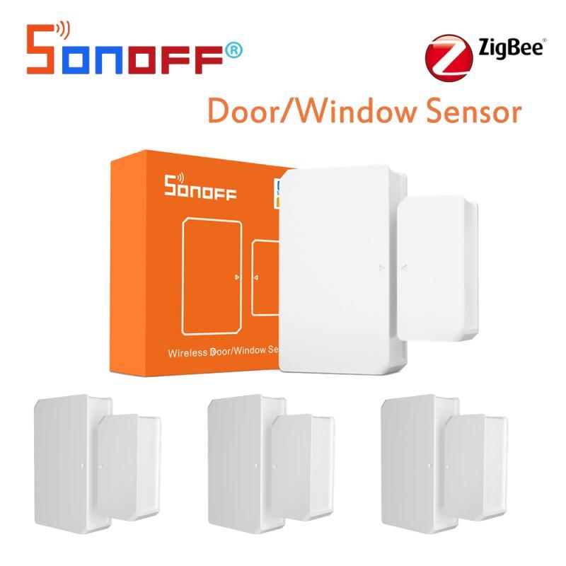 Интеллектуальный выключатель света SONOFF SNZB-04 дверных и оконных Сенсор ZigBee дверь открытой/закрыть обнаружения сигнализация уведомление чере...