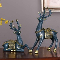 European Elk Statue Set Creative Deer Sculpture Desktop Modern Art Ornaments Resin Craft European Home Decoration Wedding Gift