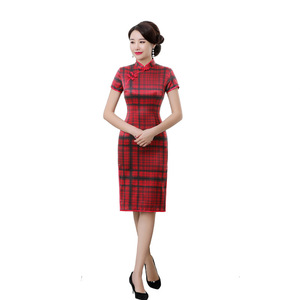 Image 5 - rhyme embroidered new plaid silk cheongsam brief paragraph improvement of mulberry silk qipao dress with short sleeves