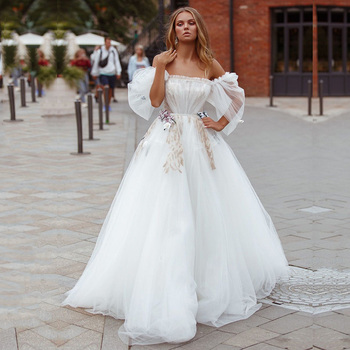 Eightale Bohemian Wedding Dress 2020 Strapless Princess Off the Shoulder A-Line Tulle Gown Bride vestidos de novia - discount item  38% OFF Wedding Dresses