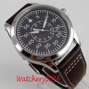 Image 5 - 42mm Corgeut Black dial Leather sapphire glass Luminous marks Militär Automatic Mechanical mens Watch