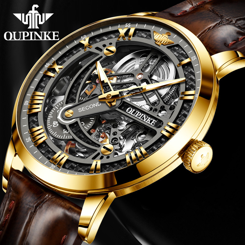 OUPINKE Mens Watch Brown Leather Strap Fashion Skeleton Automatic Mechanical Watch Men Sapphire Luminous Men Watches 2020 Luxury 1