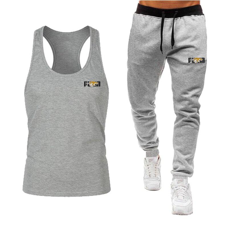 2020 new leopard logo summer leisure sports suit men's tank vest + trousers fashion sports suit tank vest + trousers 2 sets