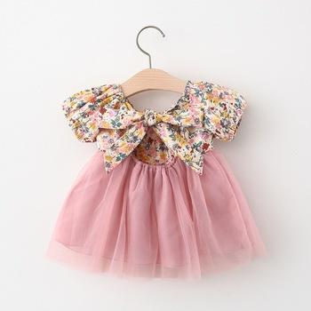 2021 noworodków dziewczynek ubrania na 1 rok dziewczynka kwiatowy łuk sukienka dzieci odzież księżniczka urodziny sukienki tutu sukienki tanie i dobre opinie BarbieRabbit W wieku 0-6m 7-12m 13-24m 25-36m Patchwork CN (pochodzenie) Kobiet krótkie Rękaw z bufkami Śliczne cotton polyester