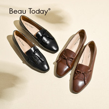 BeauToday Loafers Women Butterfly-knot Fringes Handmade Shoes Top Quality Genuine Leather Brand Slip On Flats 27084 beautoday women pumps genuine calfskin leather top brand square toe slip on lady penny shoes handmade 15714