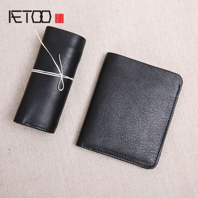 AETOO Wallet Men's Short Leather Top Layer Leather Slim Mini Wallet Women's Vertical Student Manual Wallet Soft Leather