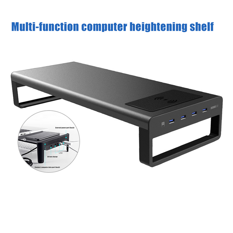 Smart Base Aluminum Alloy Computer Laptop Base Stand With USB 3.0 Port Stable Stand Monitor