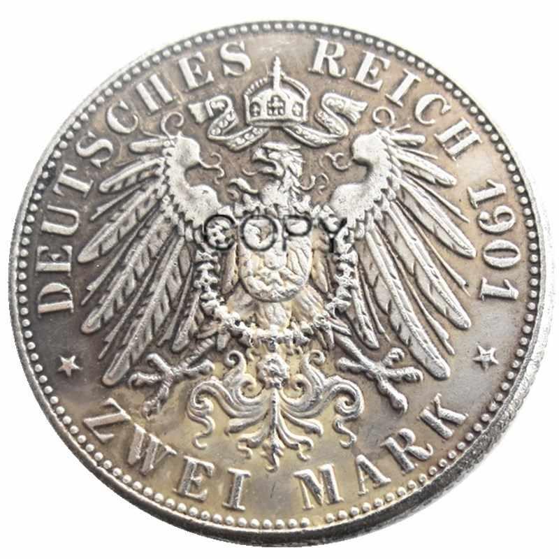 גרמניה בוואריה 2 סימן 1901 כסף מצופה עותק מטבעות