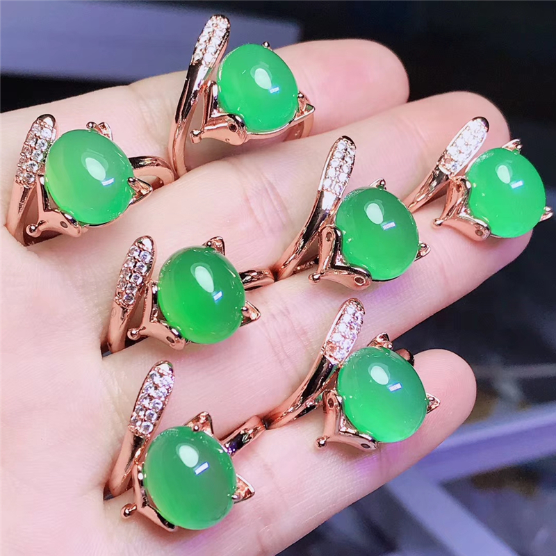 1pc Rose Gold 925 Sterling Silver Open Fox Rings For Women Natural Green Red Jade Gemstones Ring Fashion Wedding Jewelry 2020