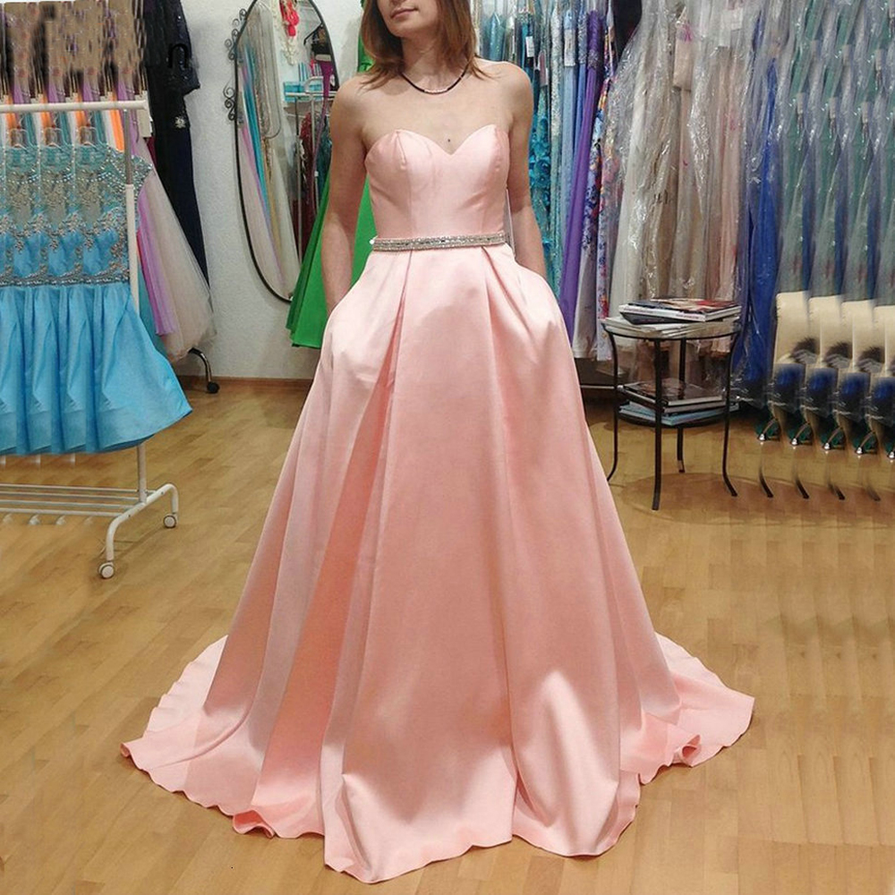 Sweetheart Satin Prom Dress Crystal Beaded A-line Evening Dresses Pink Party Gown