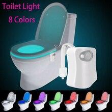 Умный туалетный ночник для ванной, светодиодный индикатор Движения, включенная/выключенная лампа с сенсором для сидения, 8 разноцветных туа...