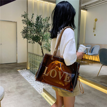 Large Handbag Transparent Clear Jelly Bag For Women Letter Tote Ladies Hand