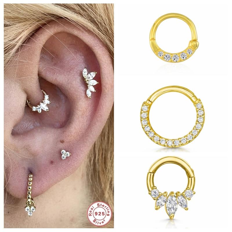 Genuine 925 Sterling Silver Bling Zircon Cartilage Stud Earrings For Woman Girl Piercing Pendientes Ear Bone Buckle Fine Jewerly