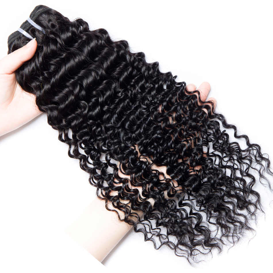 Deep Wave Bundles With Frontal 3 Ps Lace Frontal Closure With Bundles Brazilian Hair Weave Human Hair Bundles with Closure Remy