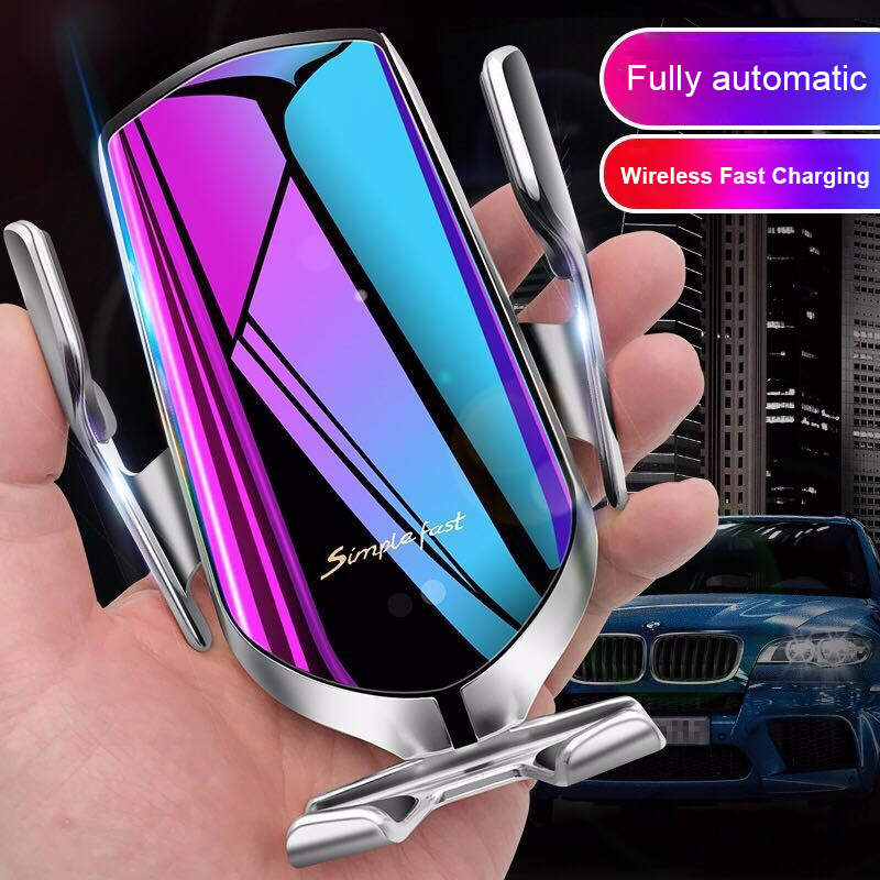 Fast 10W Qi Quick Wireless Automatic Clamping Car Charger Mount Infrared Sensor Car Charging Air Vent Mobile Phone Holder Stand