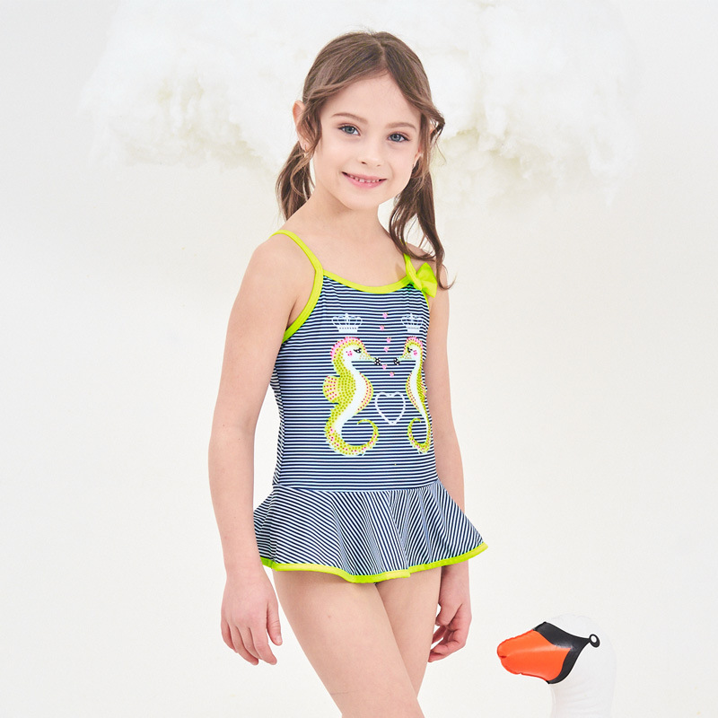 2019 Europe And America New Style Hot Sales One-piece Swimming Suit Stripes Hippocampus Skirt Girls Baby Girls KID'S Swimwear 19