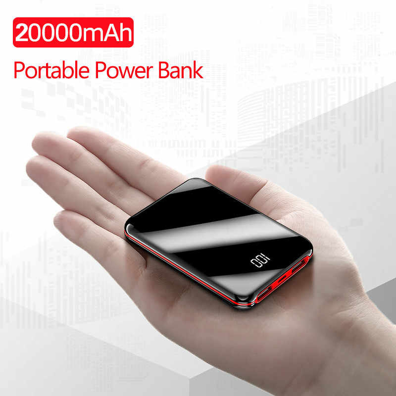 Mini Power Bank 20000 MAh Powerbank Pover Charger 2 Port USB Baterai Eksternal Poverbank Portable untuk iPhone 8 X xiaomi