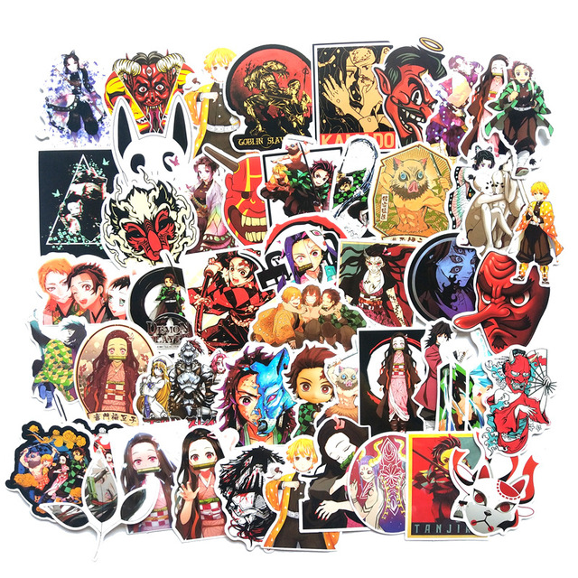 Pegatina de animé Demon Slayer: Kimetsu No Yaiba de PVC pegatinas de grafiti, Maleta, equipaje, guitarra para niños, juguetes F3, 50 Uds.