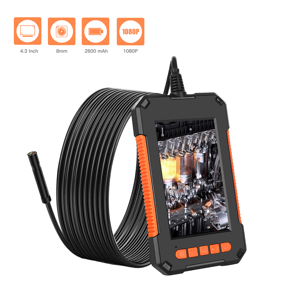 4.3inch Screen Mini Inspect Endoscope Camera Practical Durable Multi-functional Flexible Hard Cable Snake Borescope image