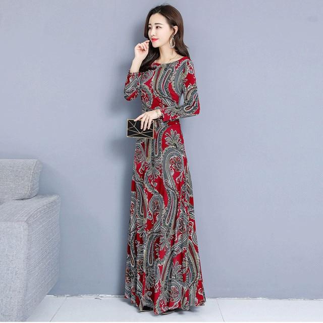 Bohemian Printing O-neck Long Dress  Long-sleeved  5