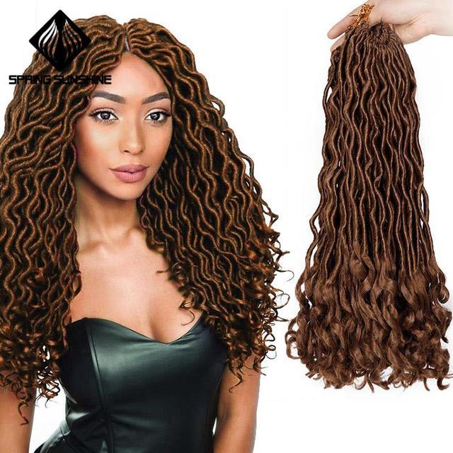 Ombre gris 18 déesse Faux Locs Crochet Extensions de cheveux synthétique Crochet tresses redoute Locs bouclés cheveux tressage cheveux