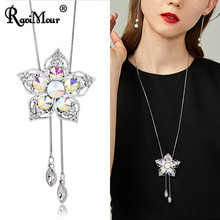 Brand Colorful Blue Crystal Long Necklace Women Jewelry Silver Big Flower Pendants Sweater Chain Fashion Female Ketting Choker(China)